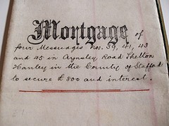 photo of antique mortgage paper